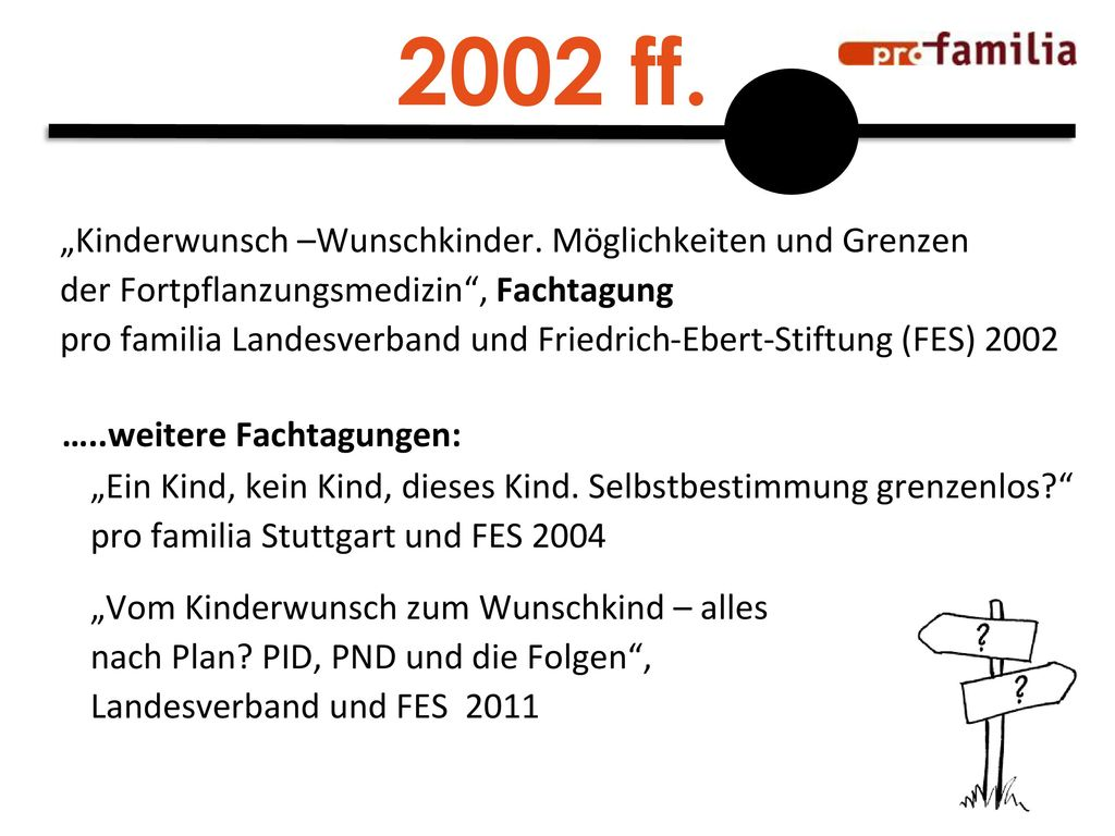 """2002 ff. """"Kinderwunsch –Wunschkinder. Möglichkeiten und Grenzen"""
