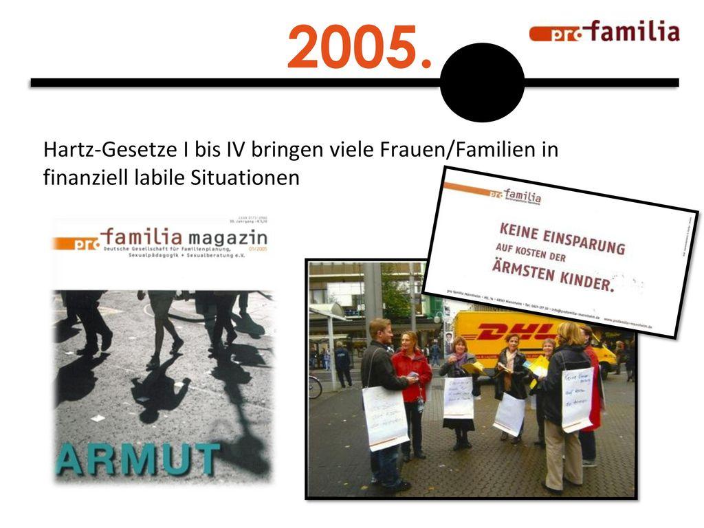 2005. Hartz-Gesetze I bis IV bringen viele Frauen/Familien in finanziell labile Situationen