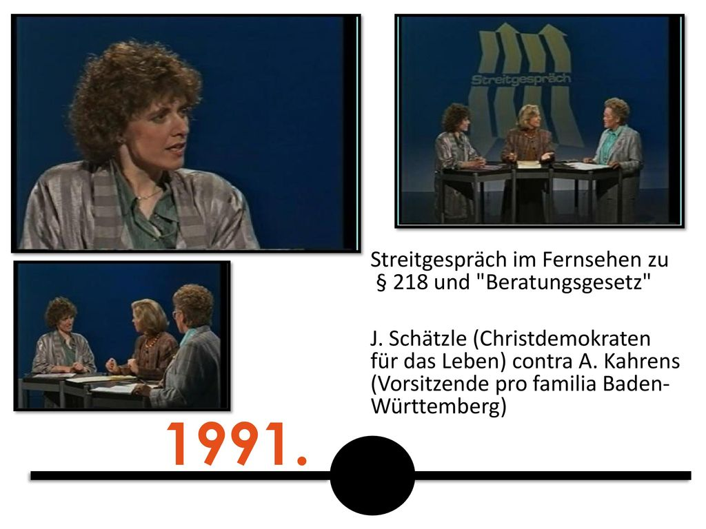 1991. Streitgespräch im Fernsehen zu § 218 und Beratungsgesetz
