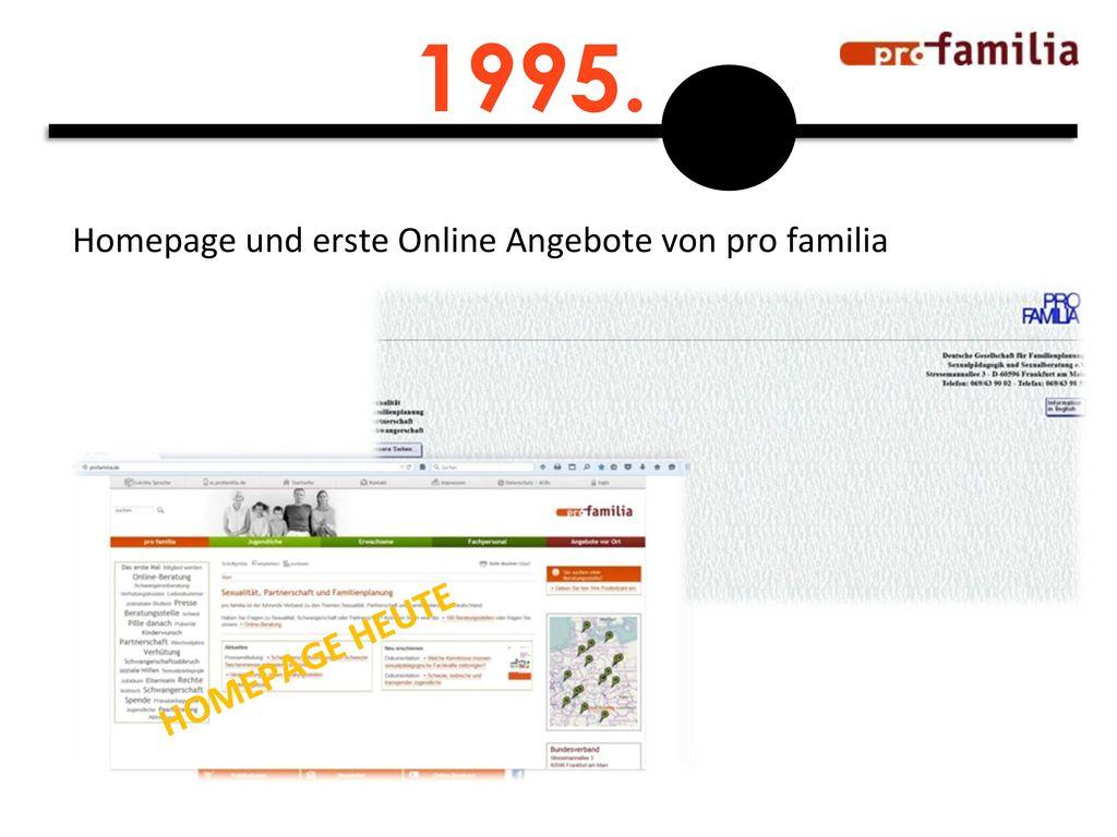 1995. Homepage und erste Online Angebote von pro familia HOMEPAGE HEUTE