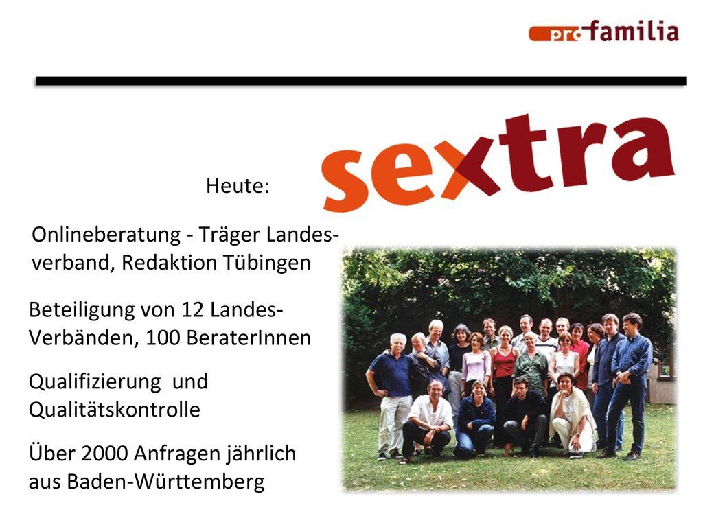 Heute: Onlineberatung - Träger Landes- verband, Redaktion Tübingen. Beteiligung von 12 Landes- Verbänden, 100 BeraterInnen.