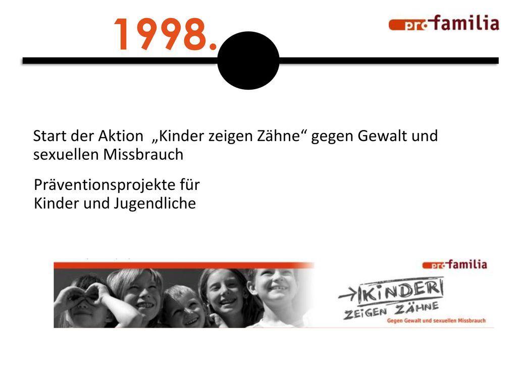 """1998. Start der Aktion """"Kinder zeigen Zähne gegen Gewalt und sexuellen Missbrauch."""