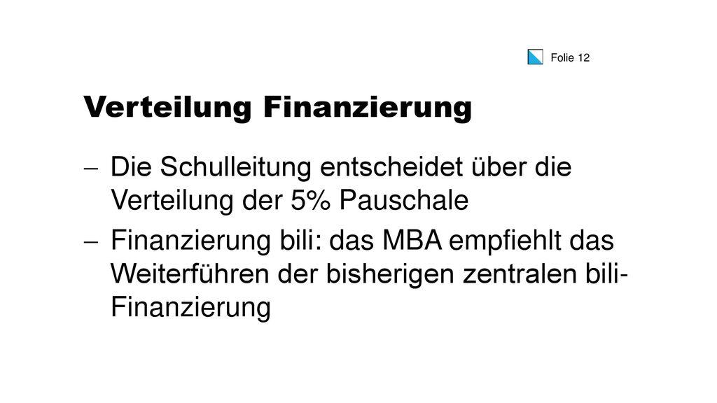 Verteilung Finanzierung