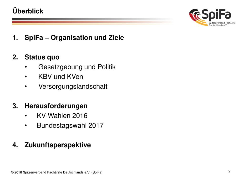 Überblick SpiFa – Organisation und Ziele. Status quo. Gesetzgebung und Politik. KBV und KVen. Versorgungslandschaft.