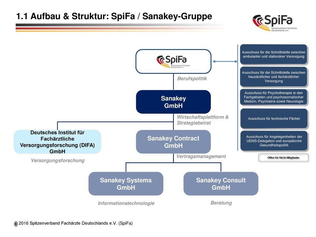 1.1 Aufbau & Struktur: SpiFa / Sanakey-Gruppe