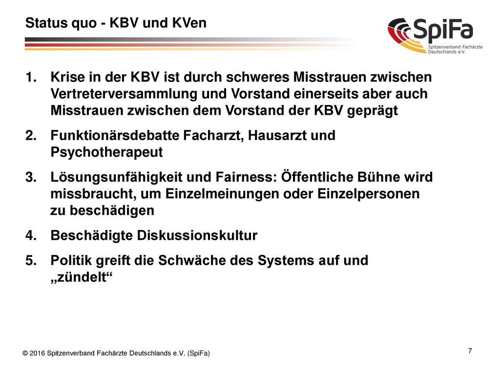 Status quo - KBV und KVen