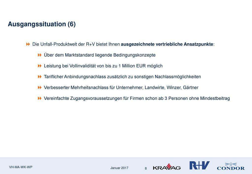 Ausgangssituation (6) Die Unfall-Produktwelt der R+V bietet Ihnen ausgezeichnete vertriebliche Ansatzpunkte: