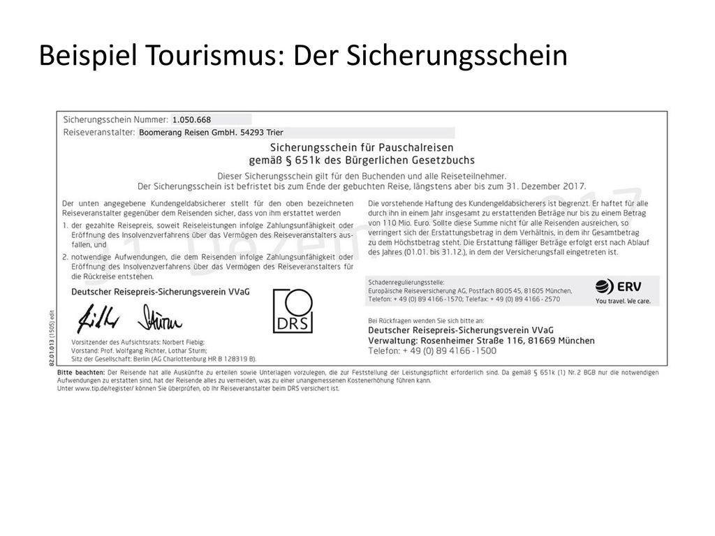 Beispiel Tourismus: Der Sicherungsschein