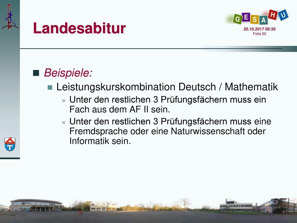 Landesabitur Beispiele: Leistungskurskombination Deutsch / Mathematik