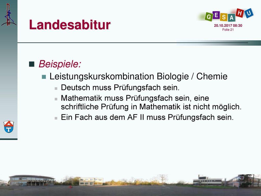 Landesabitur Beispiele: Leistungskurskombination Biologie / Chemie