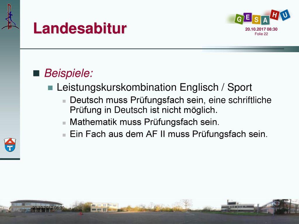 Landesabitur Beispiele: Leistungskurskombination Englisch / Sport