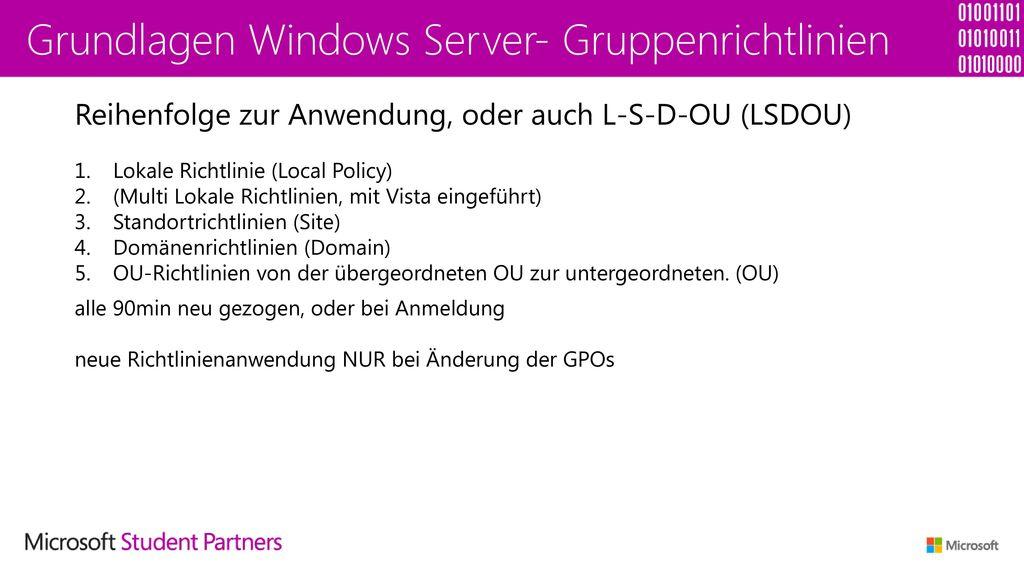 Grundlagen Windows Server- Gruppenrichtlinien