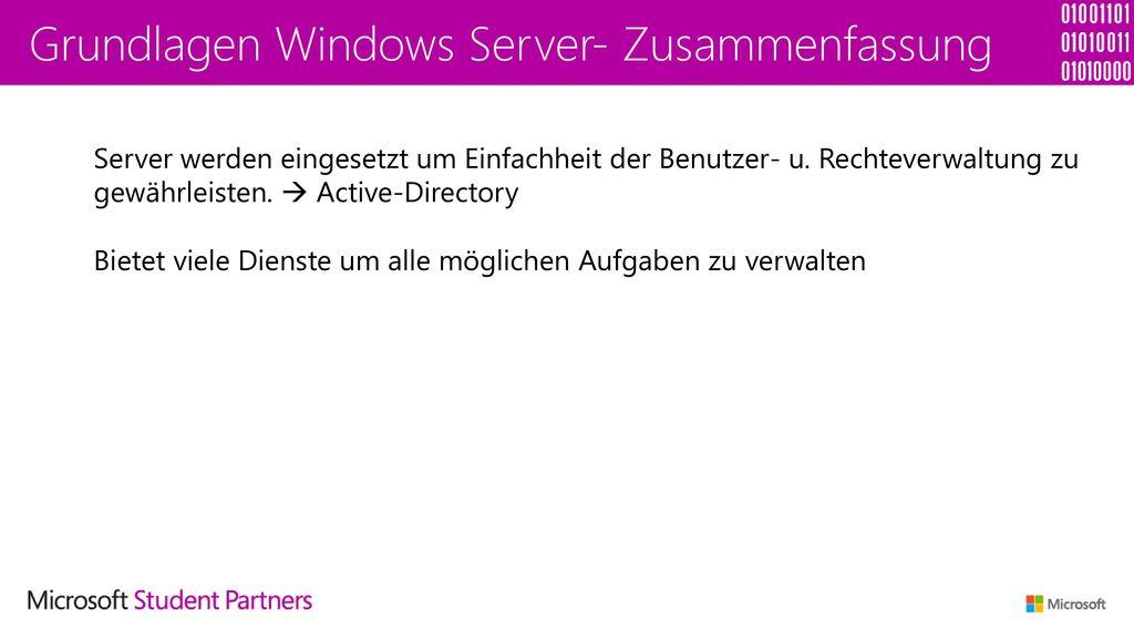 Grundlagen Windows Server- Zusammenfassung