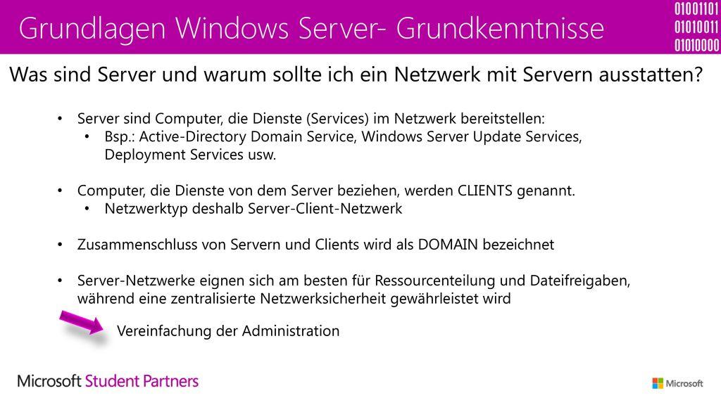 Grundlagen Windows Server- Grundkenntnisse