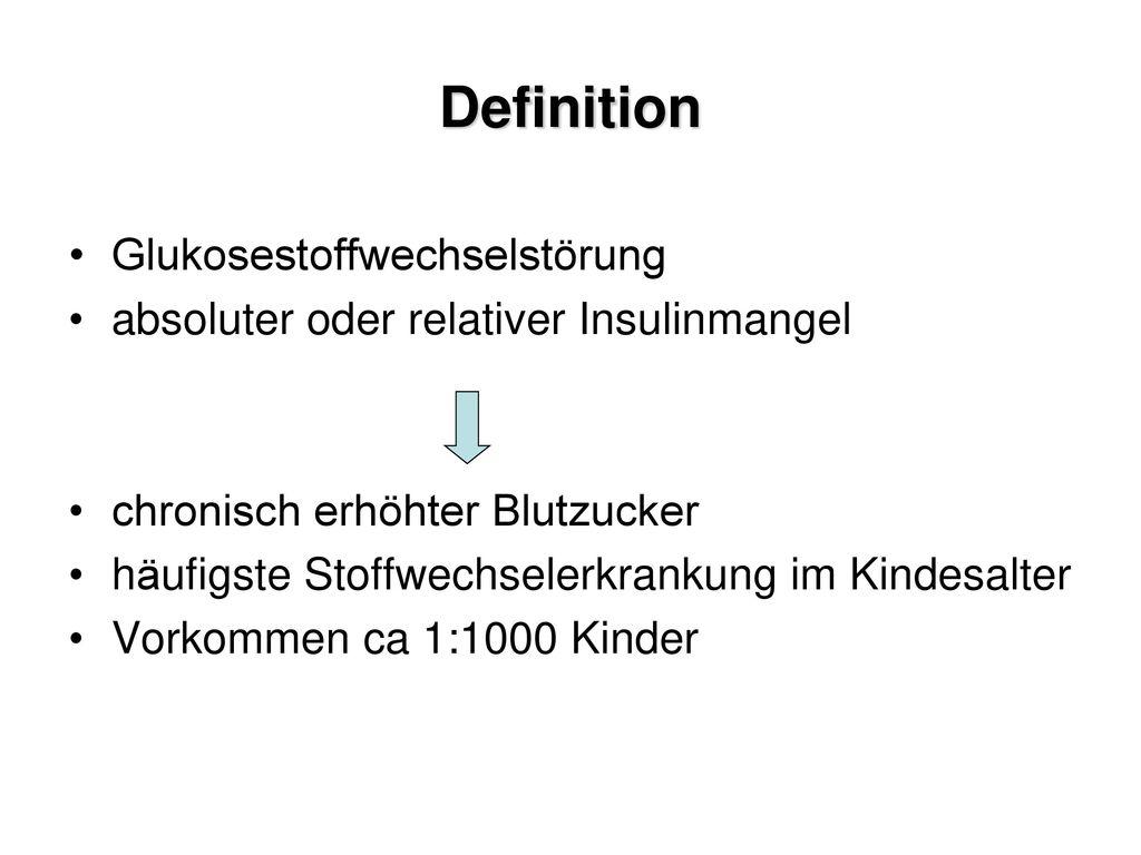 Definition Glukosestoffwechselstörung