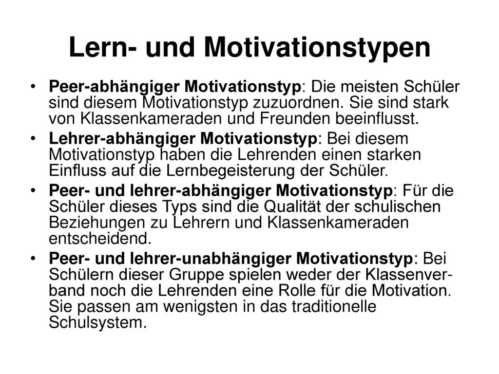 Lern- und Motivationstypen