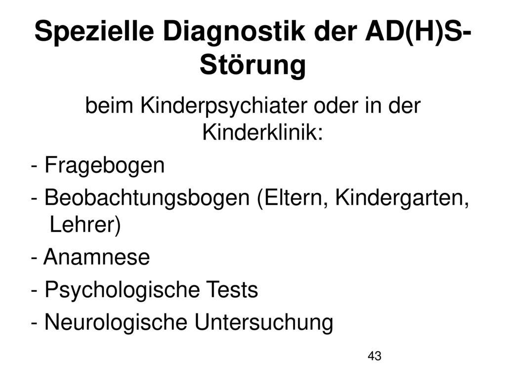 Spezielle Diagnostik der AD(H)S-Störung