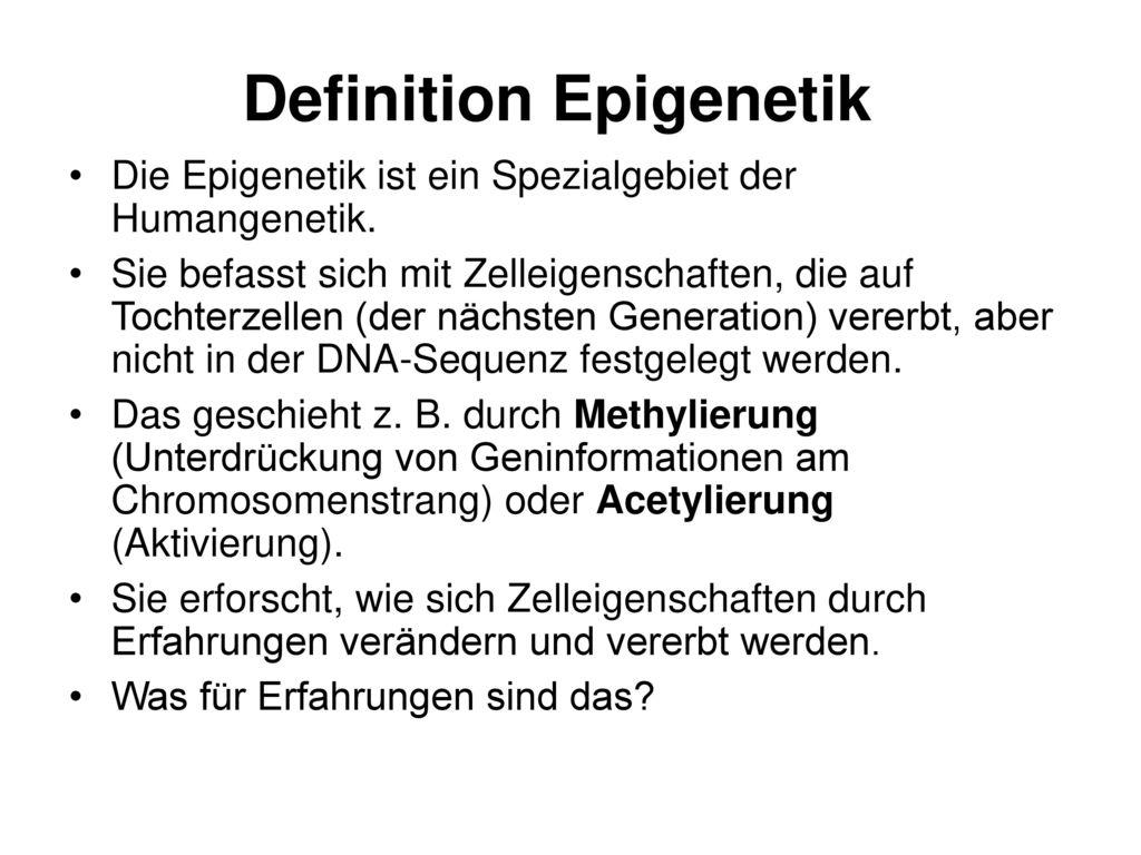 Definition Epigenetik