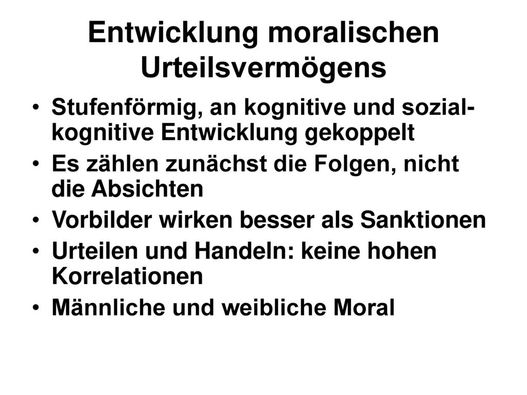 Entwicklung moralischen Urteilsvermögens