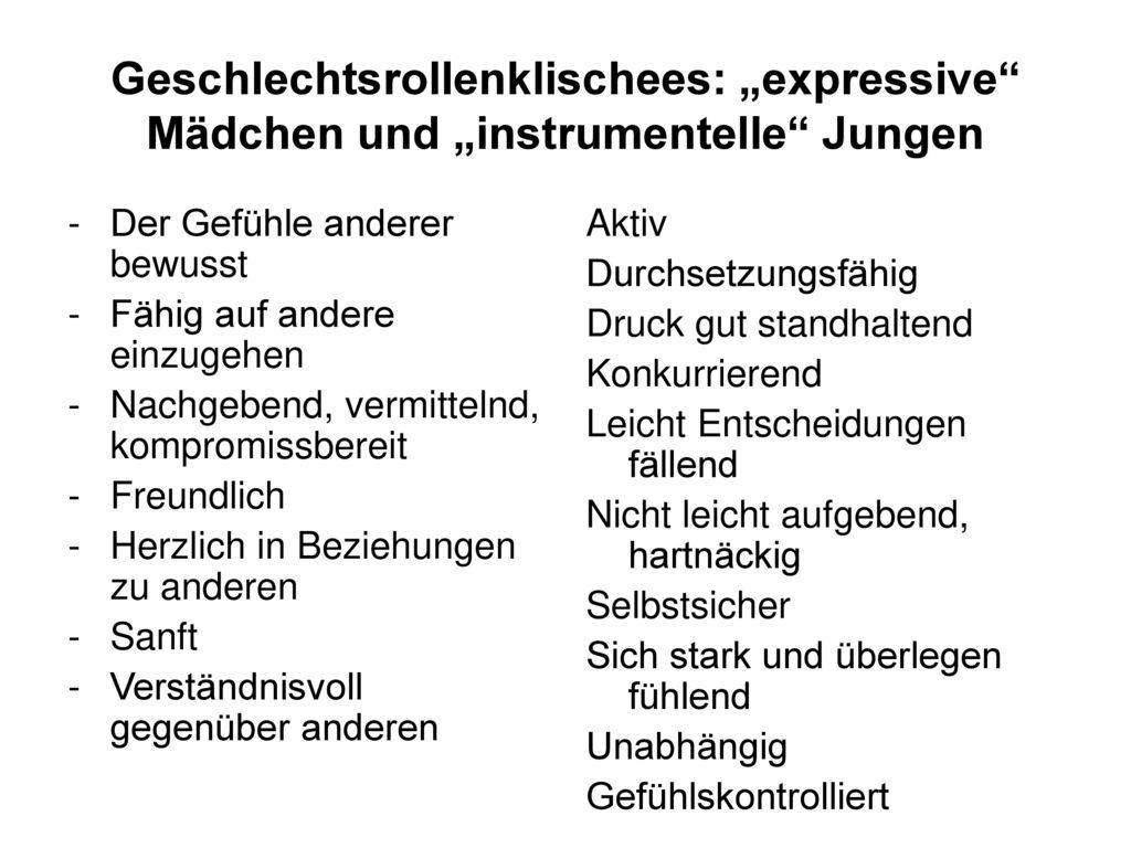 """Geschlechtsrollenklischees: """"expressive Mädchen und """"instrumentelle Jungen"""