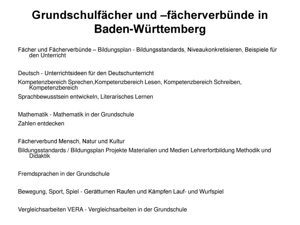 Grundschulfächer und –fächerverbünde in Baden-Württemberg