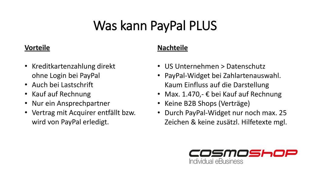 Was kann PayPal PLUS Vorteile Nachteile