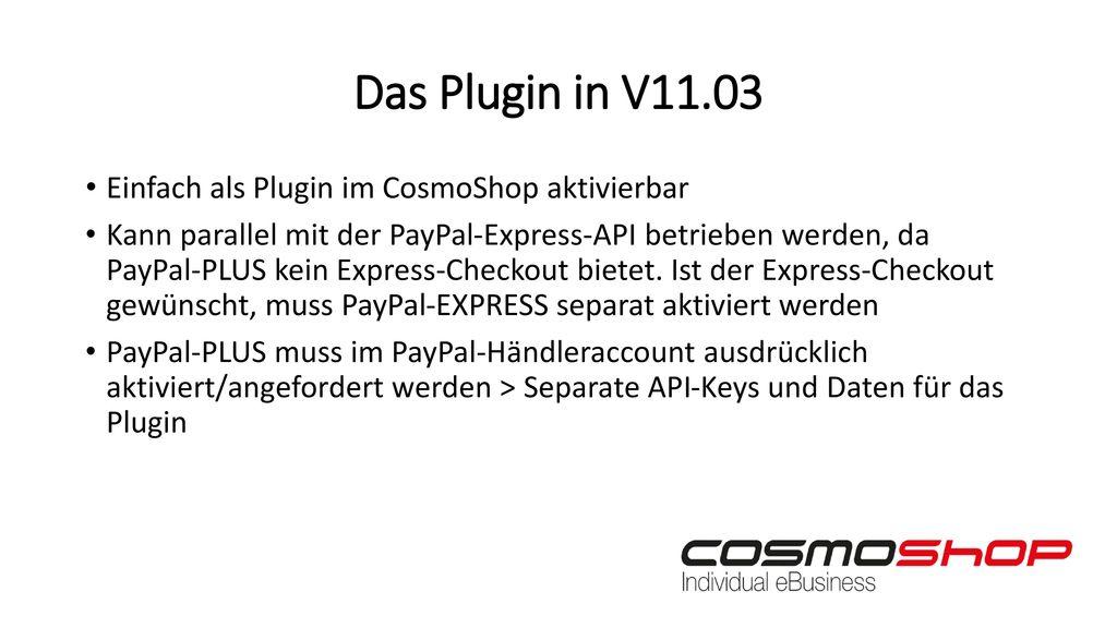 Das Plugin in V11.03 Einfach als Plugin im CosmoShop aktivierbar