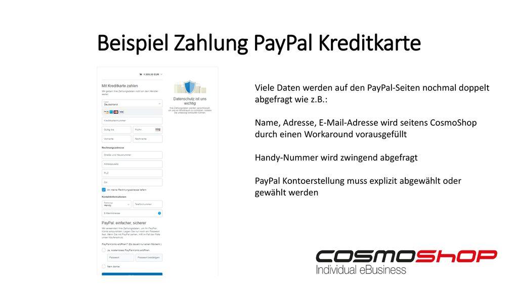 Beispiel Zahlung PayPal Kreditkarte