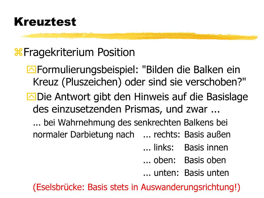 Kreuztest Fragekriterium Position