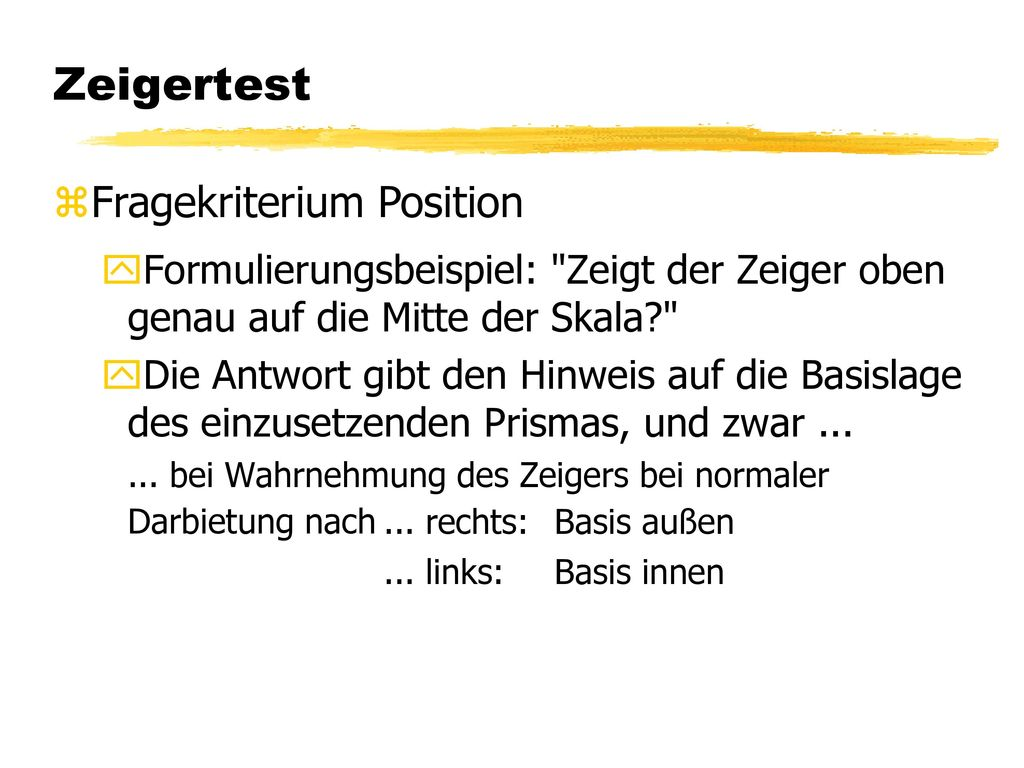 Zeigertest Fragekriterium Position