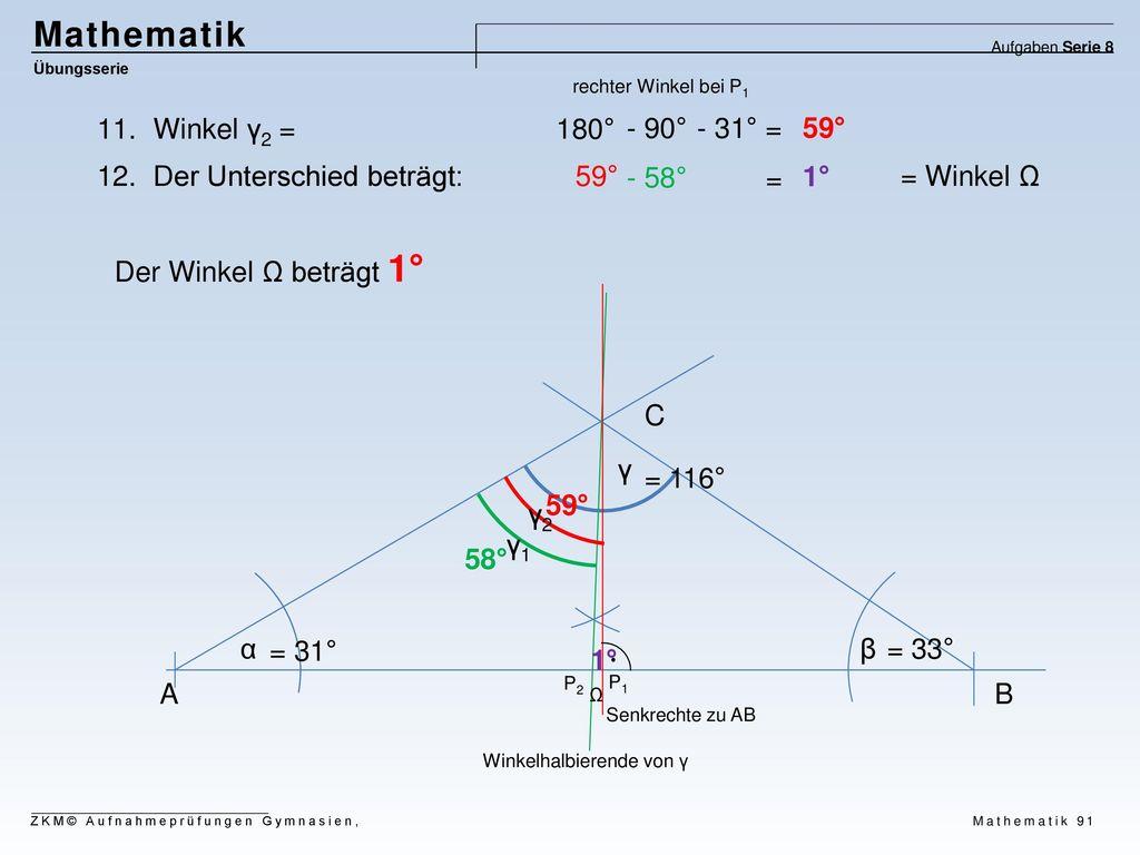 Mathematik Winkel γ2 = 180° - 90° - 31° = 59° Der Unterschied beträgt: