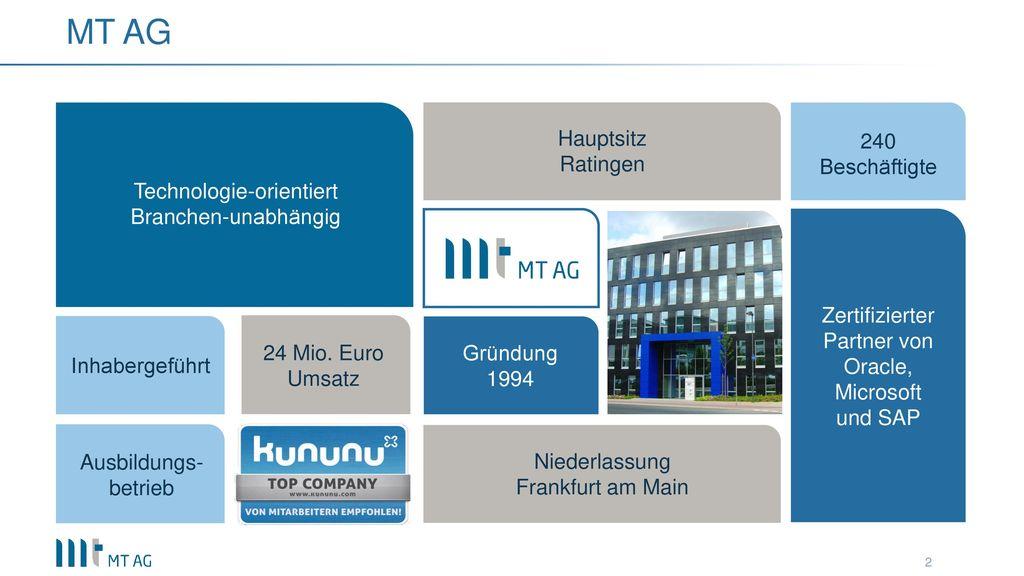 MT AG Hauptsitz 240 Beschäftigte Ratingen Technologie-orientiert