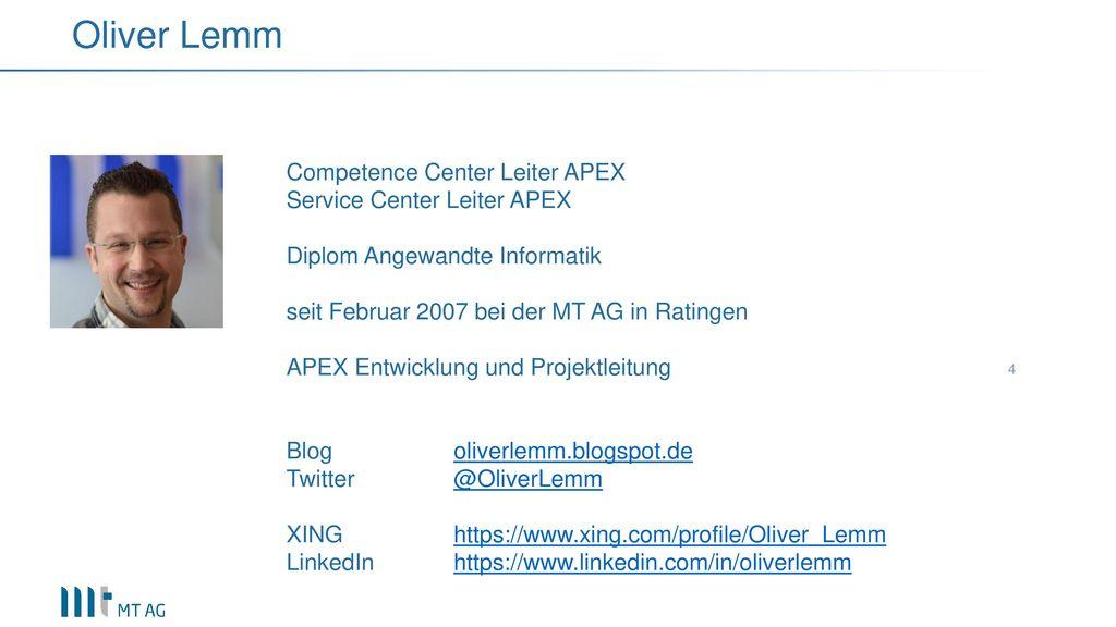 Oliver Lemm Competence Center Leiter APEX Service Center Leiter APEX