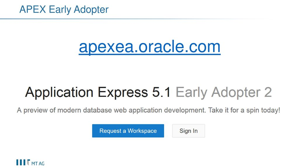 APEX Early Adopter apexea.oracle.com
