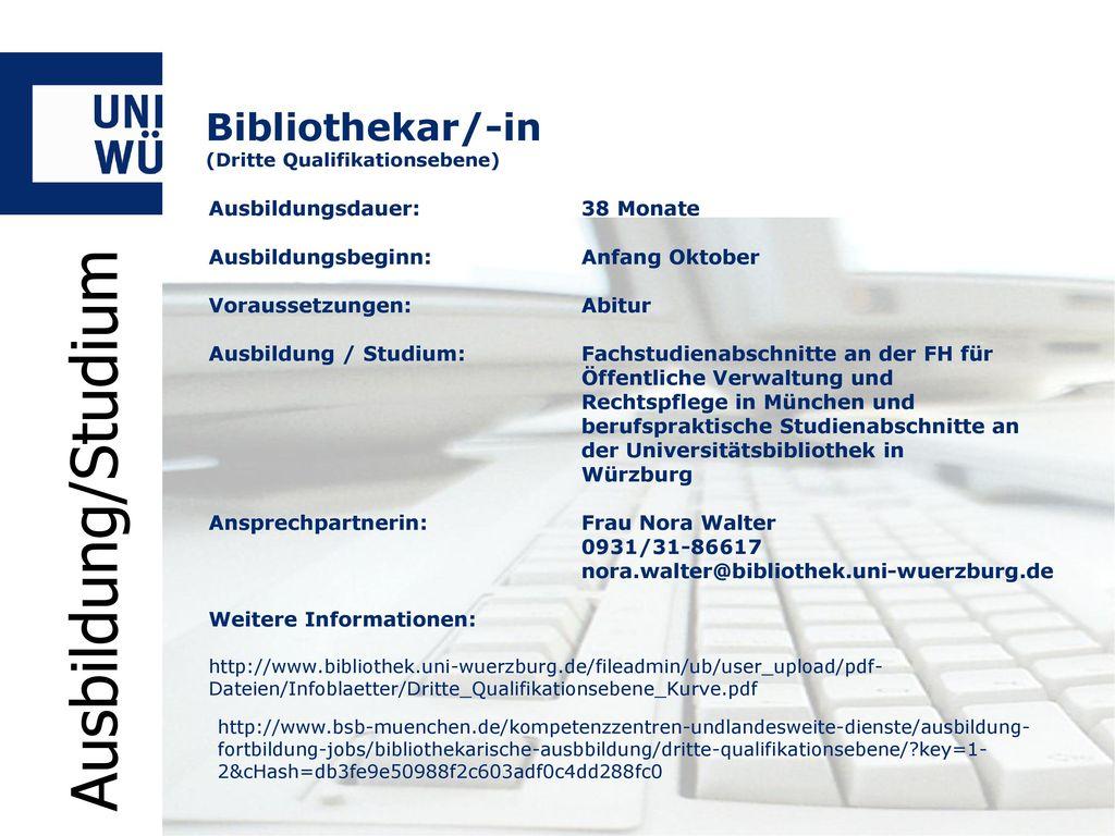 Bibliothekar/-in (Dritte Qualifikationsebene)