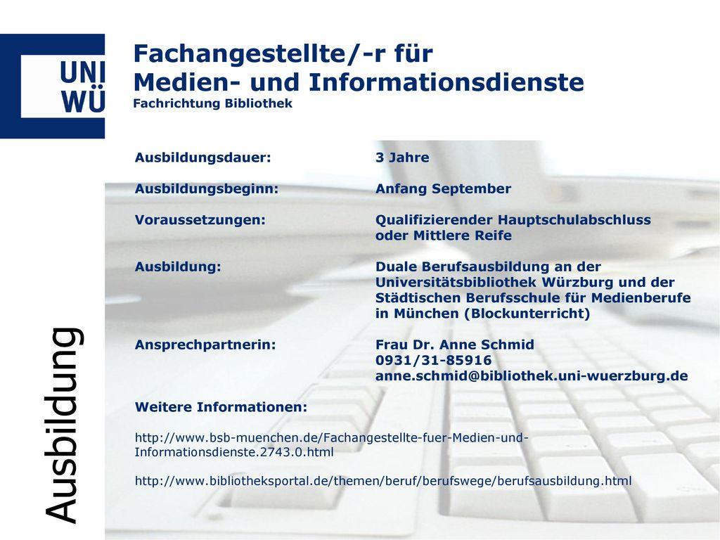 Fachangestellte/-r für Medien- und Informationsdienste Fachrichtung Bibliothek