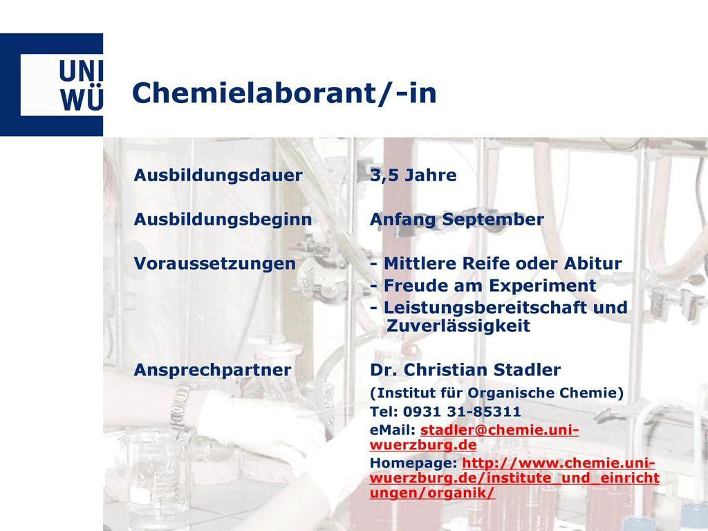 Chemielaborant/-in Ausbildungsdauer 3,5 Jahre