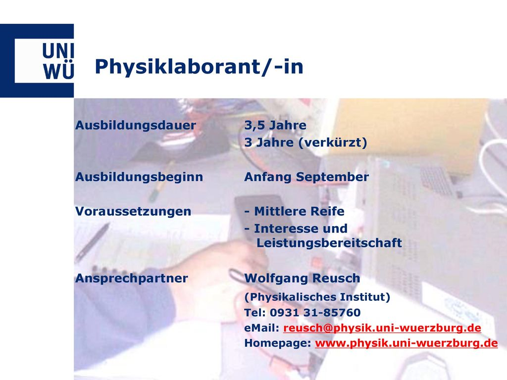 Physiklaborant/-in (Physikalisches Institut)