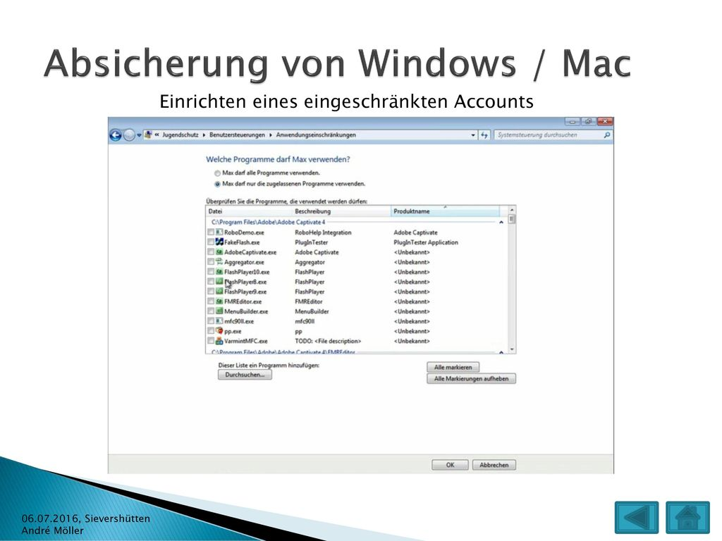 Absicherung von Windows / Mac