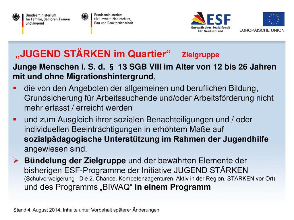 """""""JUGEND STÄRKEN im Quartier Zielgruppe"""