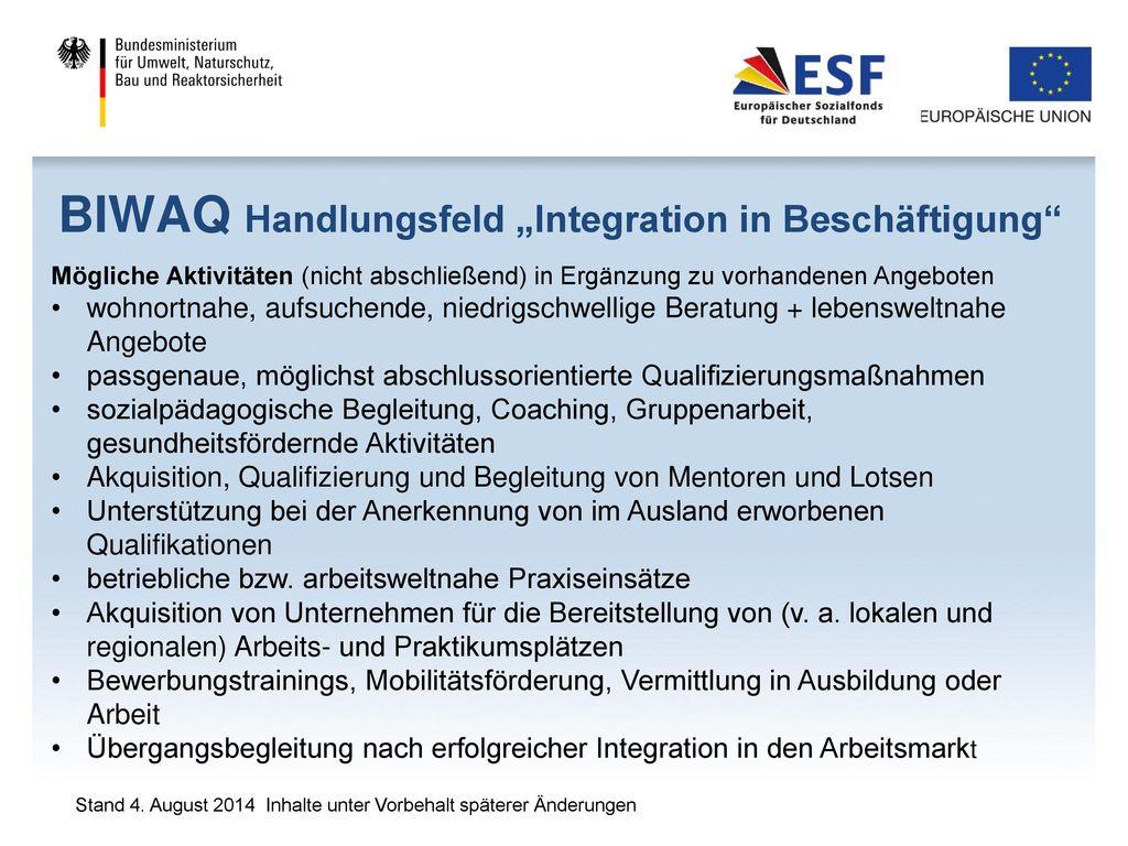 "BIWAQ Handlungsfeld ""Integration in Beschäftigung"