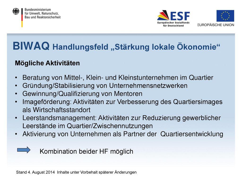 "BIWAQ Handlungsfeld ""Stärkung lokale Ökonomie"