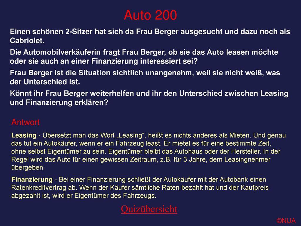 Auto 200 Quizübersicht Antwort