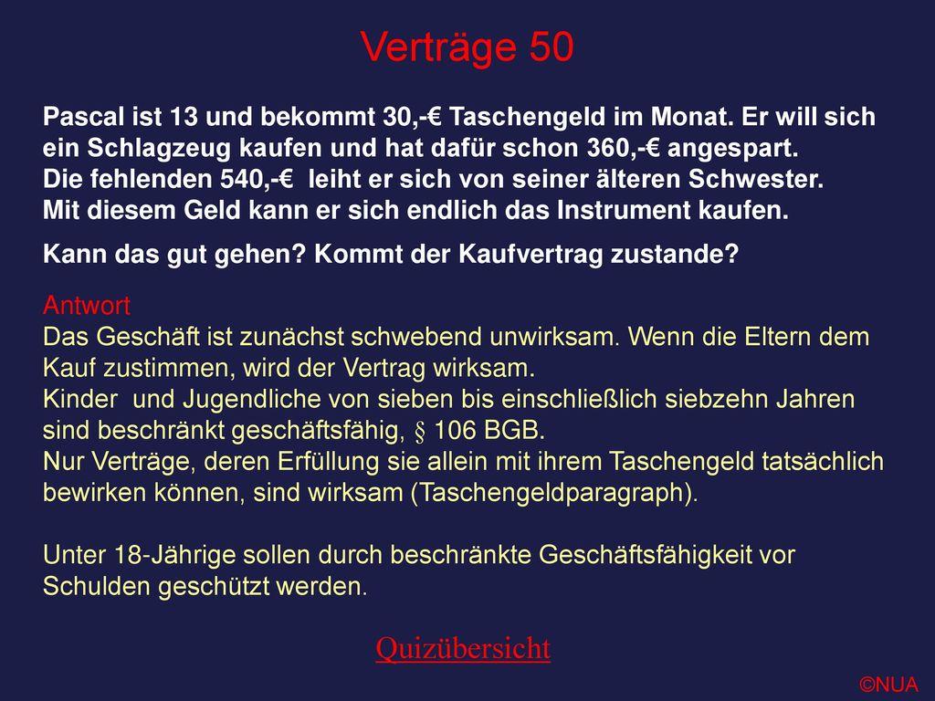 Verträge 50 Quizübersicht