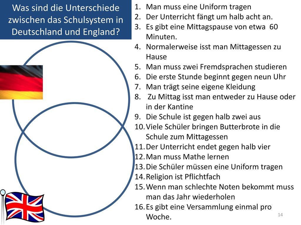 Was sind die Unterschiede zwischen das Schulsystem in Deutschland und England