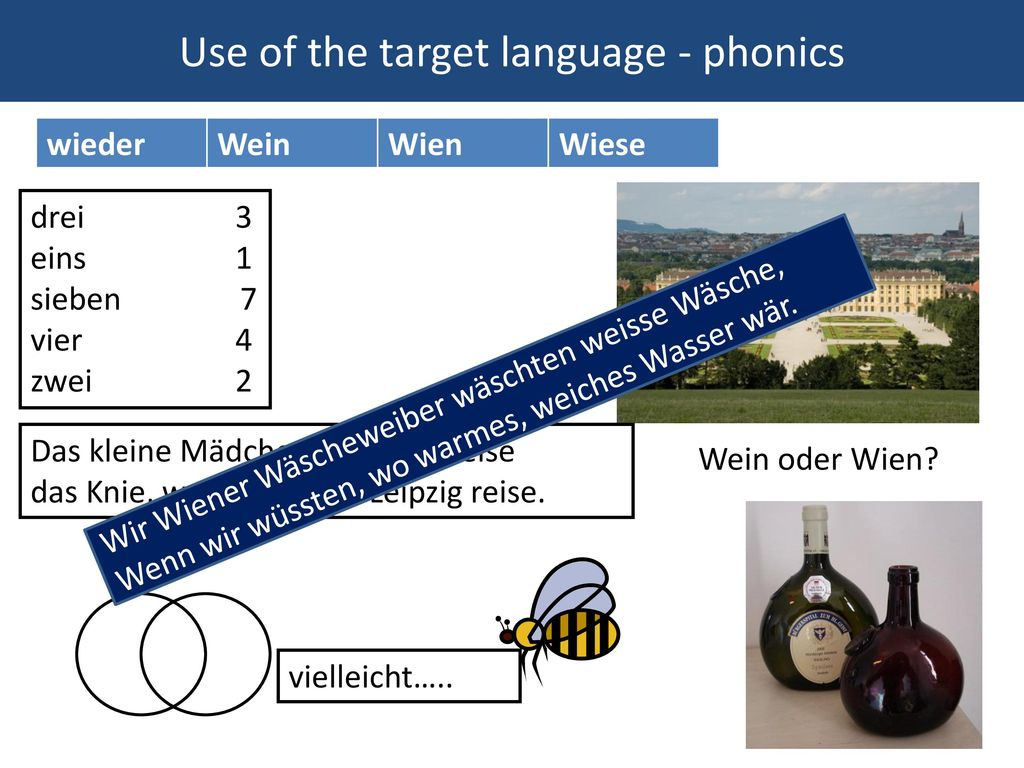 Use of the target language - phonics