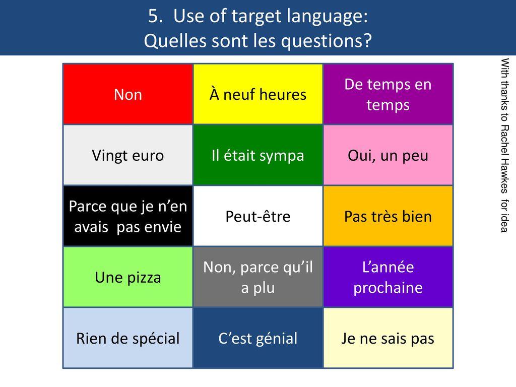 5. Use of target language: Quelles sont les questions