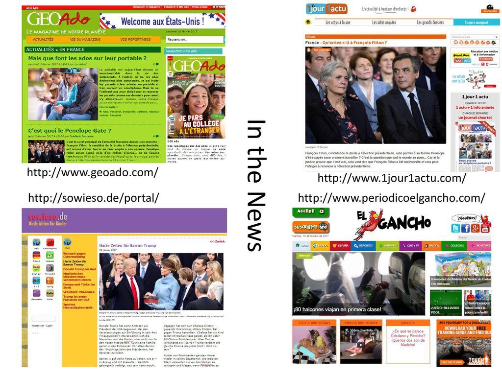 In the News http://www.geoado.com/ http://www.1jour1actu.com/