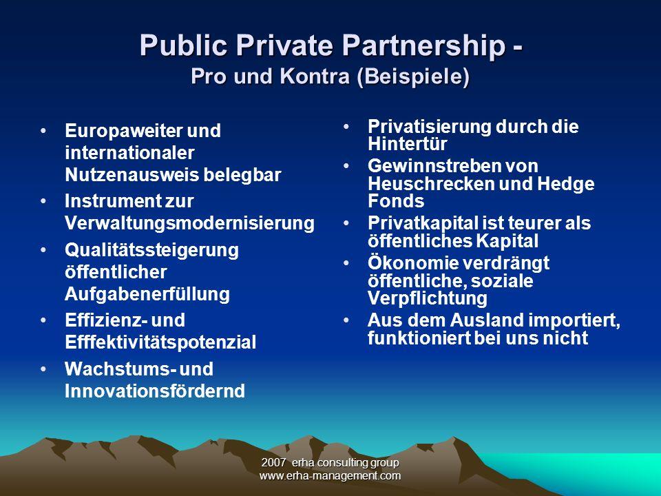 Public Private Partnership - Pro und Kontra (Beispiele)