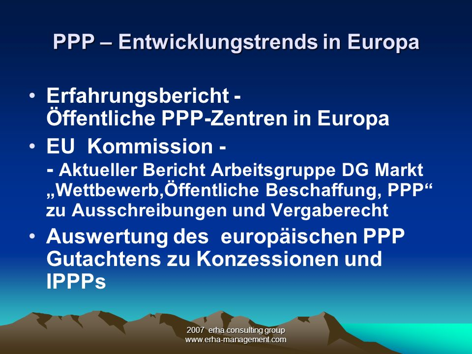 PPP – Entwicklungstrends in Europa